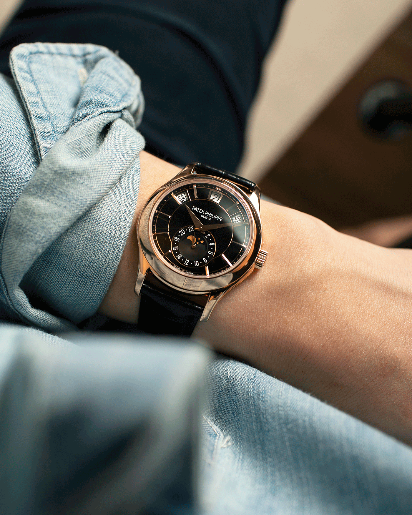 Brand: Patek Philippe Year: 2019 Model: Annual Calendar Reference Number: 5205R Material: 18k Rose Gold Movement: Cal 324 S QA LU 24H Case Diameter: 40mm Bracelet: Nostime Patek Philippe Black Alligator Strap with 18k Rose Gold Tang Buckle