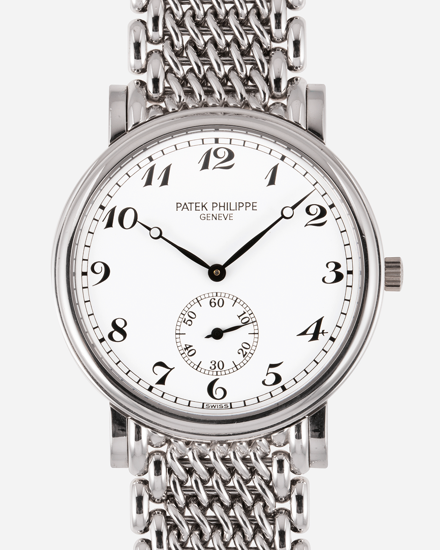 Brand: Patek Philippe Year: 1990's Model: Calatrava Reference: 5022G Material: 18k White Gold Movement: Patek Philippe Cal. 215 Case Diameter: 33.4mm Lug Width: 18mm Strap: Patek Philippe 18k White Gold Bracelet