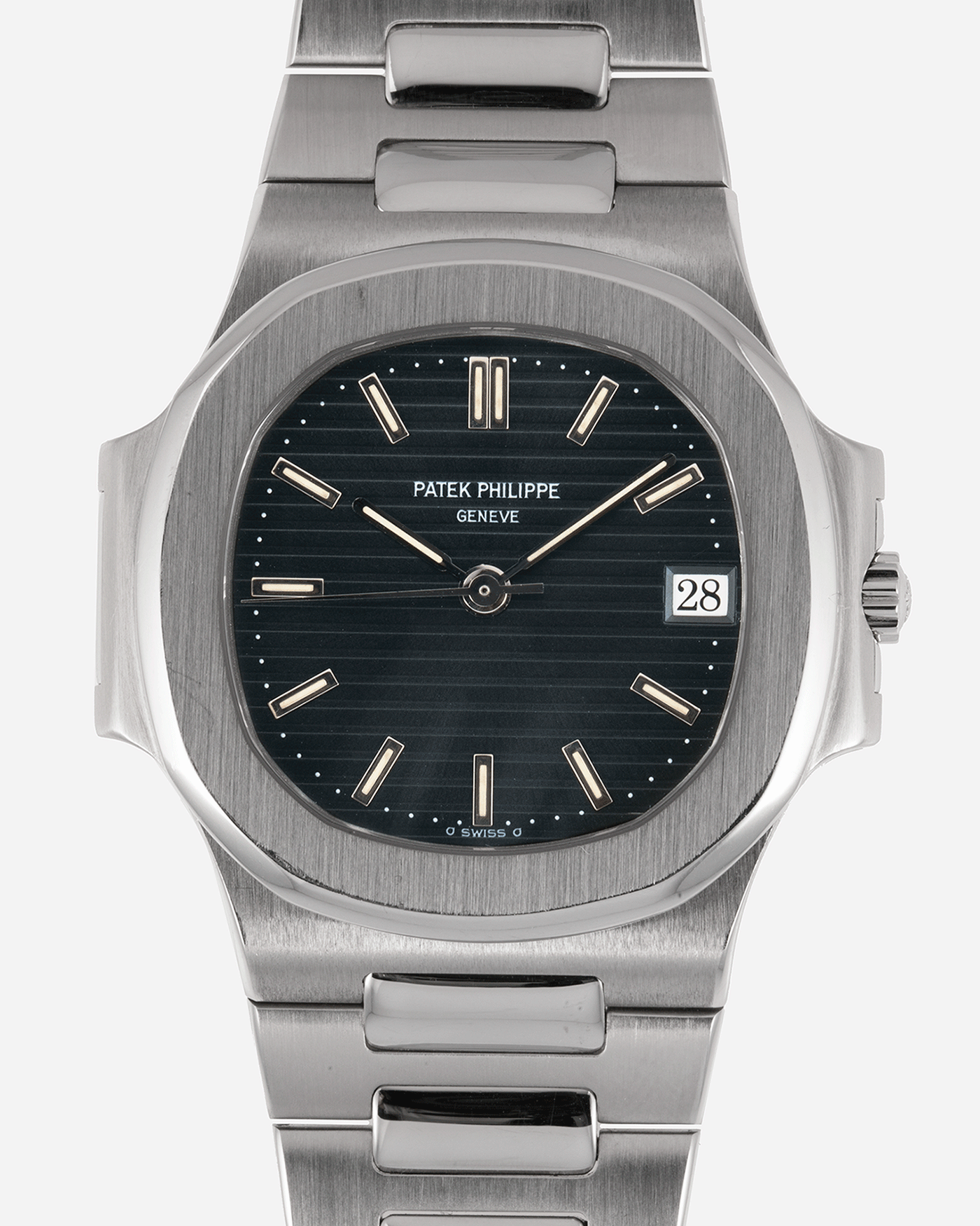Brand: Patek Philippe Year: 1990's Model: Nautilus Reference Number: 3800 Material: Stainless Steel  Movement: Calibre 335 SC Case Diameter: 38mm Bracelet: Patek Philippe Integrated Stainless Steel Bracelet