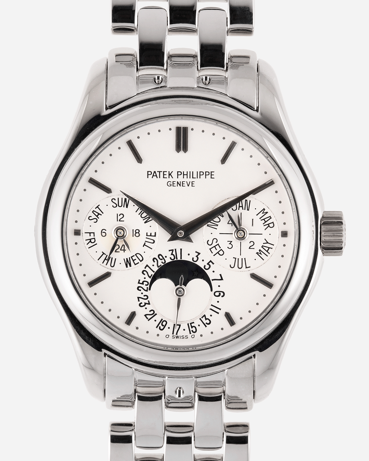 Brand: Patek Philippe Year: 2006 Model: Perpetual Calendar Reference Number: 5136G Material: 18k White Gold Movement: Cal 240Q Case Diameter: 37mm Bracelet: 18k White Gold Patek Philippe Bracelet