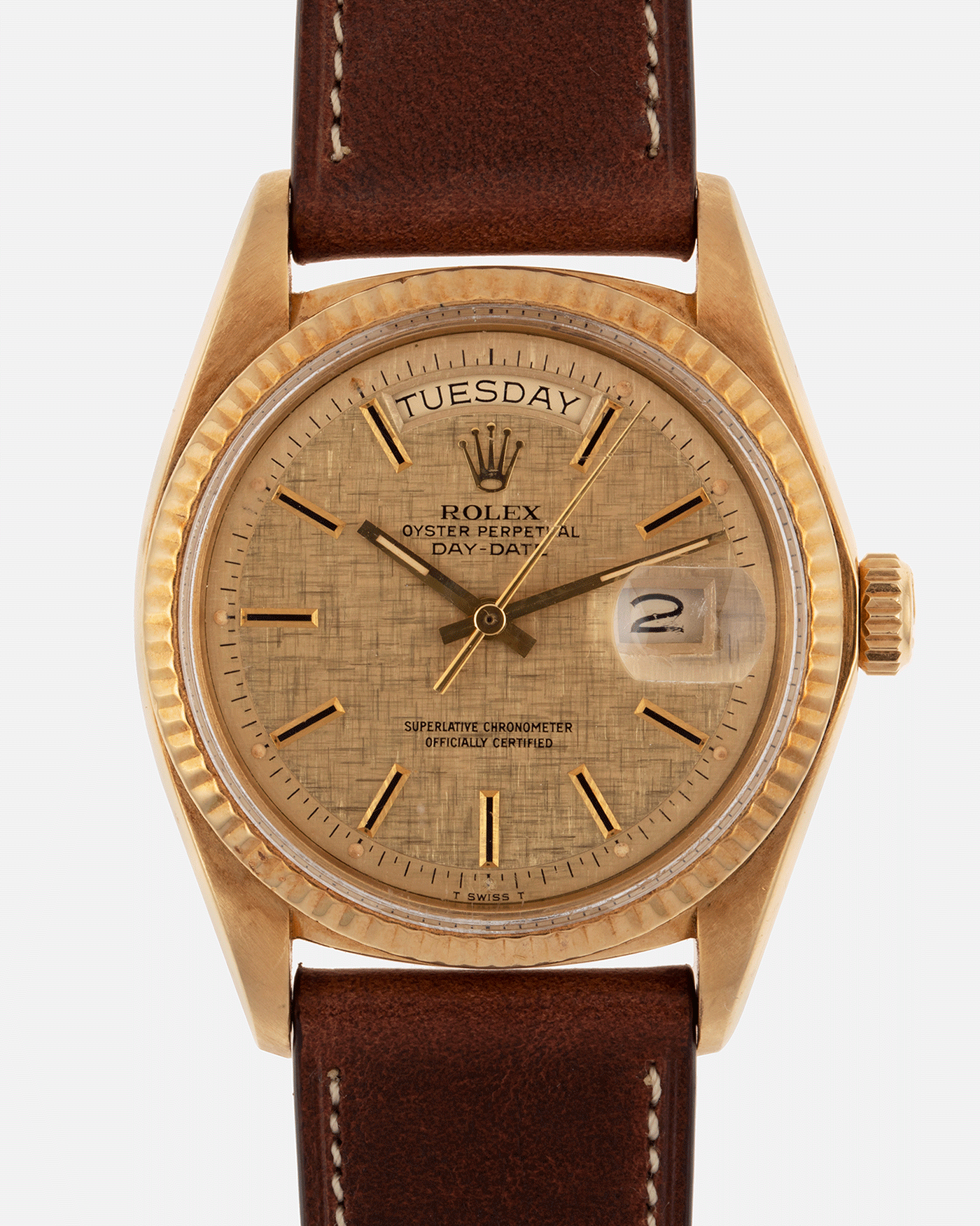 Brand: Rolex Year: 1978 Model: Day Date Reference Number: 1803 Serial Number: 5089385 Material: 18k Yellow Gold Movement: Cal. 1555 Case Diameter: 36mm Lug Width: 20mm Bracelet/Strap: Nostime Tobacco Brown Horween Shell Cordovan