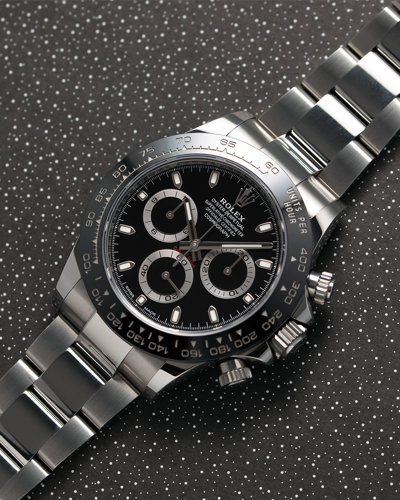 Brand: Rolex Year: 2019 Model: Daytona Reference: 116500 Material: Stainless Steel Movement: Calibre 4130 Case Diameter: 40mm Strap: Stainless Steel Rolex Oyster Bracelet