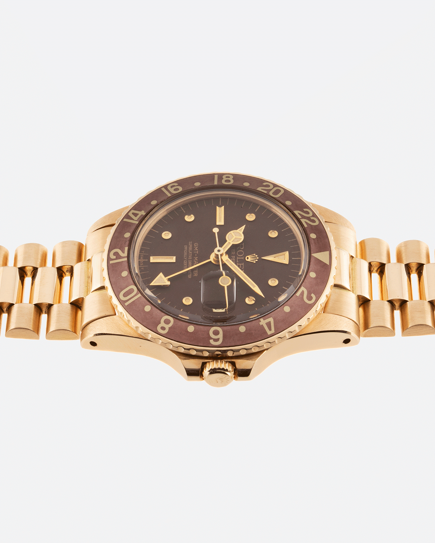 Brand: Rolex Year: 1978 Model: GMT-Master Reference Number: 1675 Serial Number: 5.3 mil Material: 18k Yellow Gold Movement: Cal. 1570 Case Diameter: 40mm Lug Width: 20mm Strap: 18k Yellow Gold Rolex President Bracelet