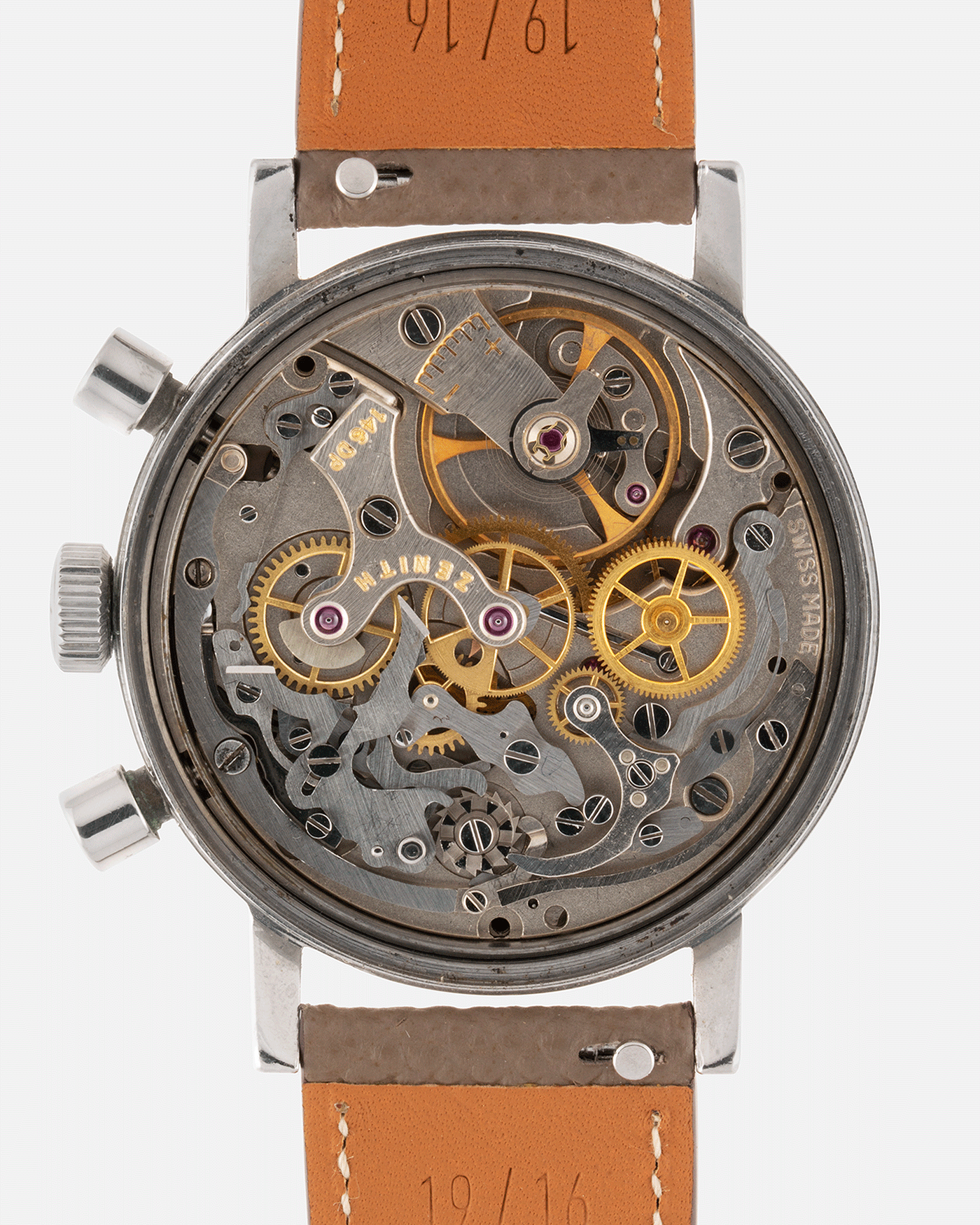 Brand: Zenith Year: 1960's Model: A271 Reference Number: A271 Material: Stainless Steel Movement: Cal 146DP Case Diameter: 37mm Lug Width: 19mm Strap: Nostime Taupe Grained Calf