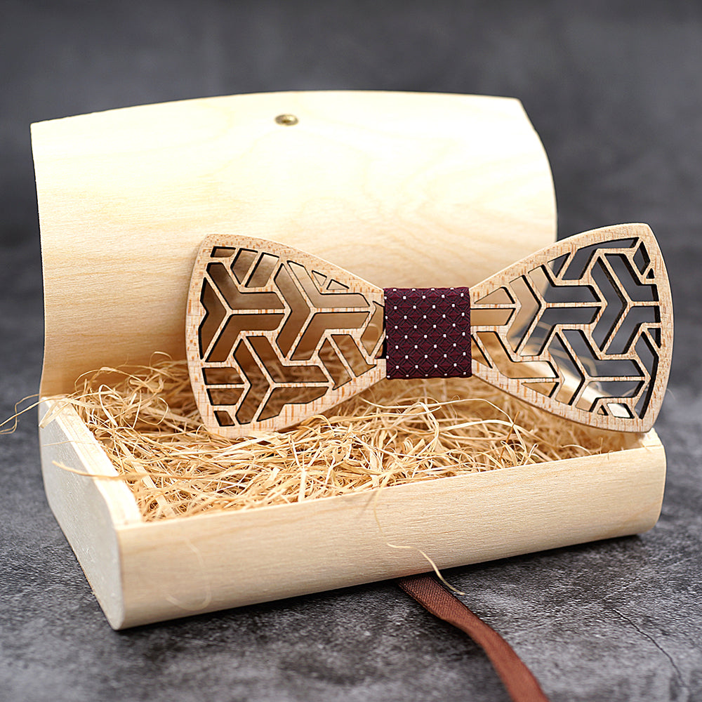 Maple wooden bow tie with matching pocket square Sale!