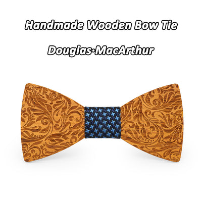 Yellow pear Wood Engraved wooden bow tie