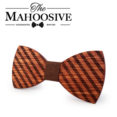 Striped Wooden bow ties
