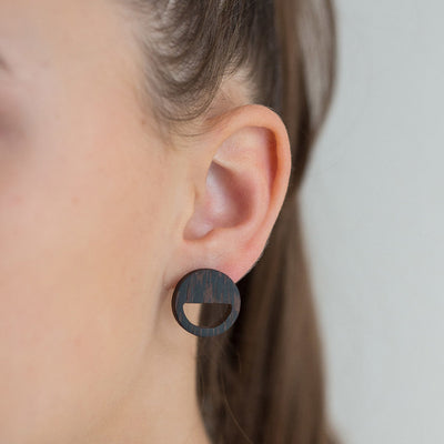 Wenge Wood Earring - Smile face
