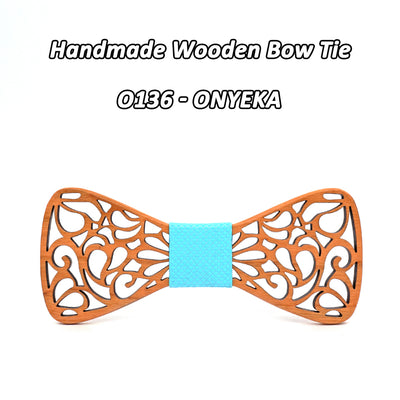 Wooden Bow Tie Set Cherry with Laser Out Out