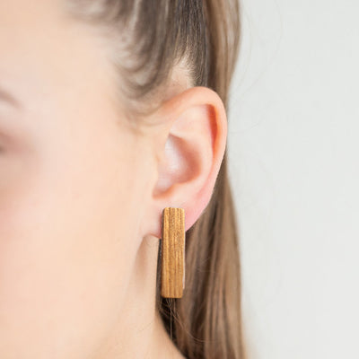 Zebra Wood Earring - Rectangle