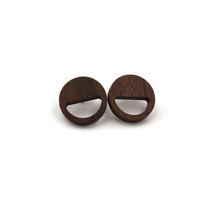 Black Walnut Wood Earring - Smile face