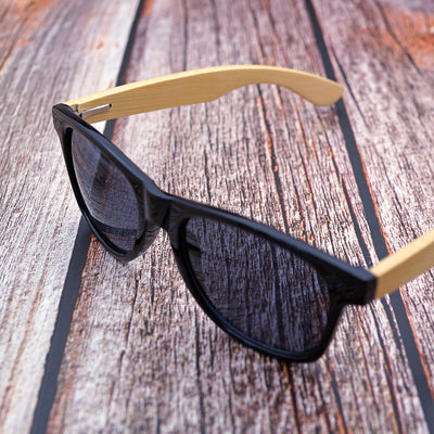 Wood sunglasses black frame bamboo legs