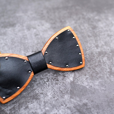Leather bow tie with Wood bowties