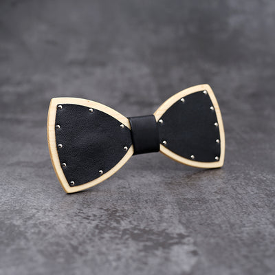 White Leather Wood bow tie Maple wood Punk style bowtie