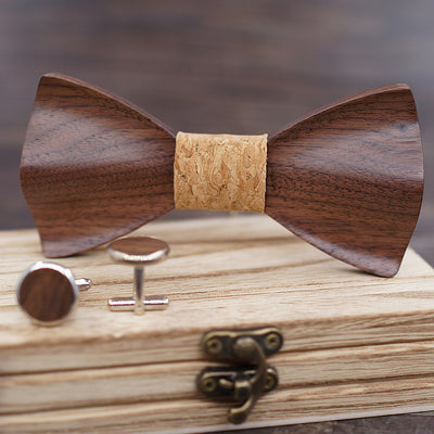 Wooden bow tie 3D Black Walnut wood bowtie with Cufflinks Set