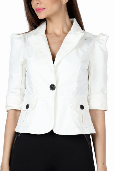 The Classic Jacket in White Close Up
