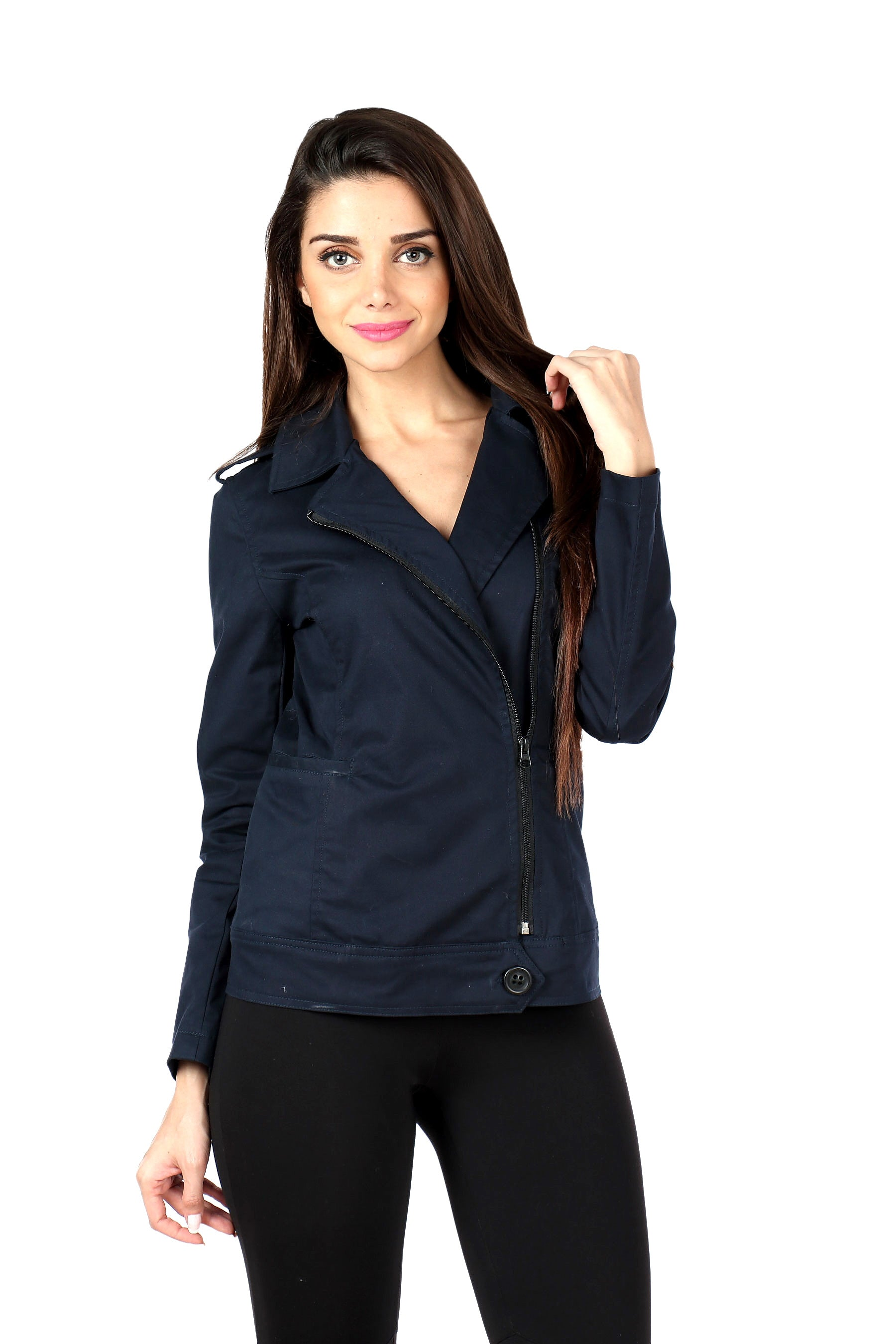 Biker Jacket in Navy Twill Front