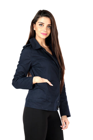 Biker Jacket in Navy Twill Side