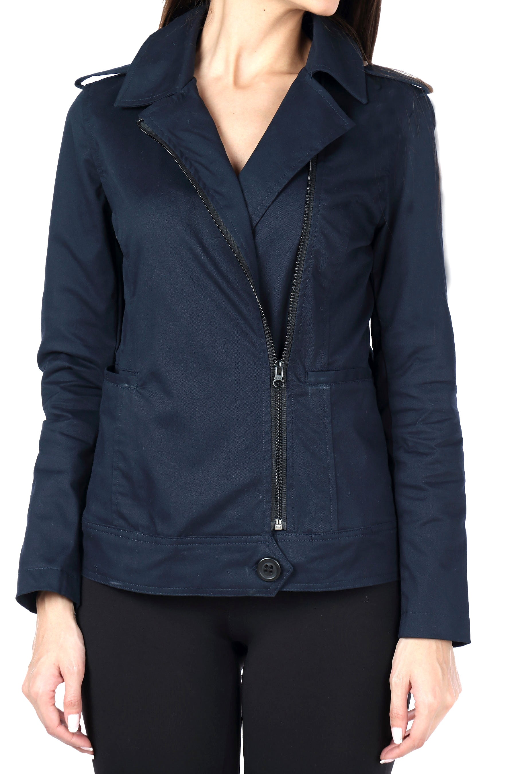 Biker Jacket in Navy Twill Close Up