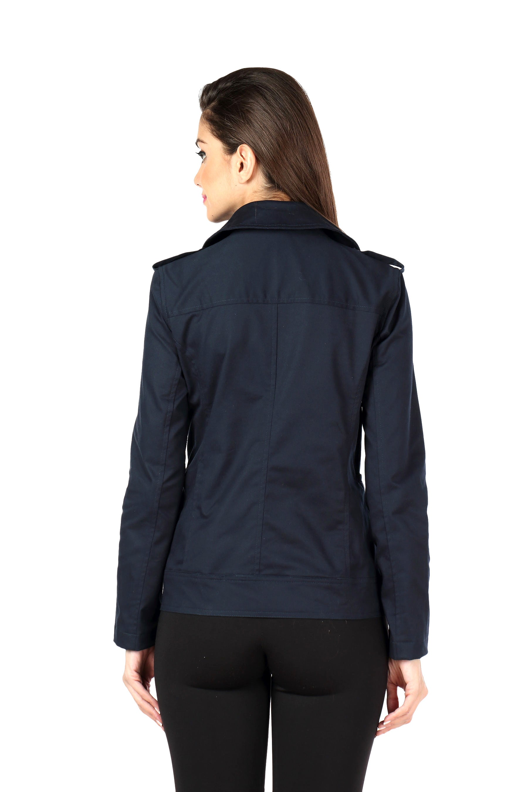 Biker Jacket in Navy Twill Back
