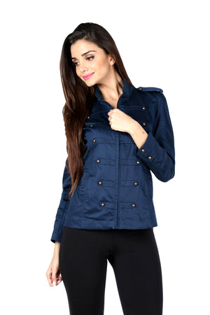 Military Jacket in Navy Front 1