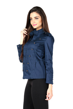 Military Jacket in Navy Side