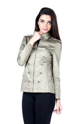Military Jacket in Dark Khaki Front