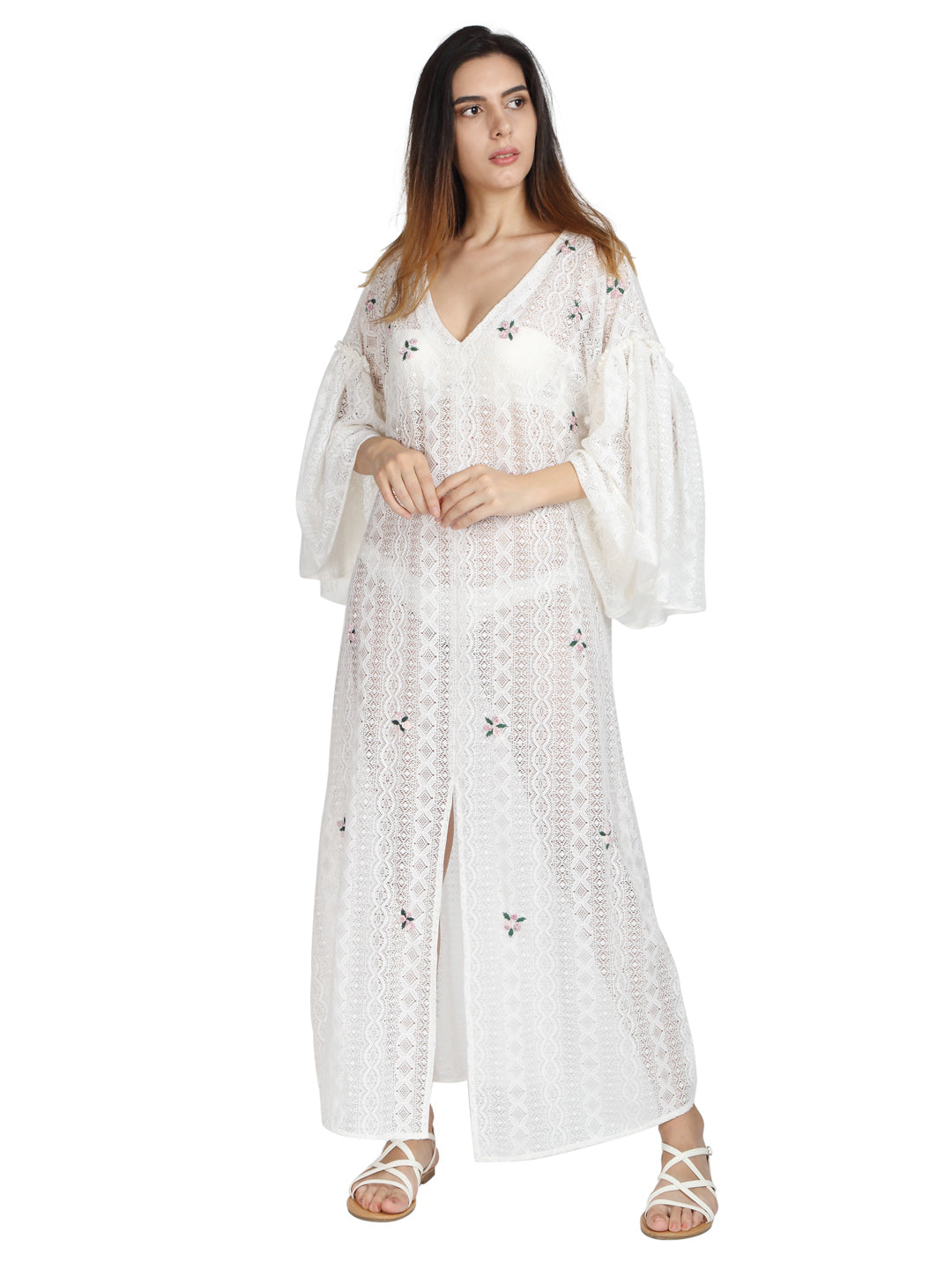 White Lace Kaftan with Hand Done Rosettes