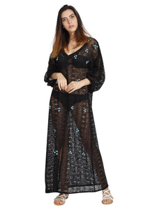 Black Lace Kaftan with Hand Made Rosettes