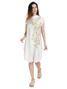 runa ray Back Cowl Dress in Rose Fabric with Bougainvillea Flowers organic clothing
