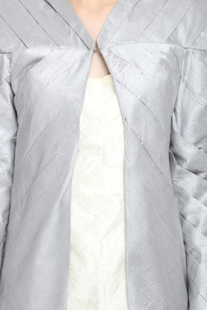 Silver Hand Pleated Silk Coat Close Up