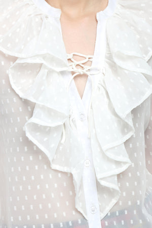 White Ruffle Top Close Up