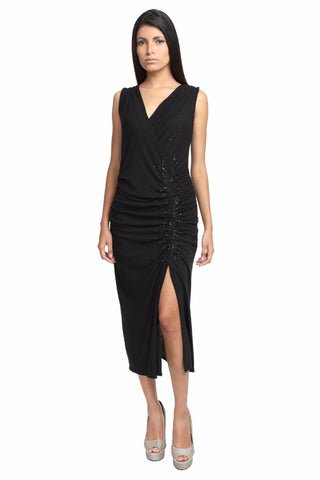 Sleeveless Ruched Dress with Bead Embellishment Front