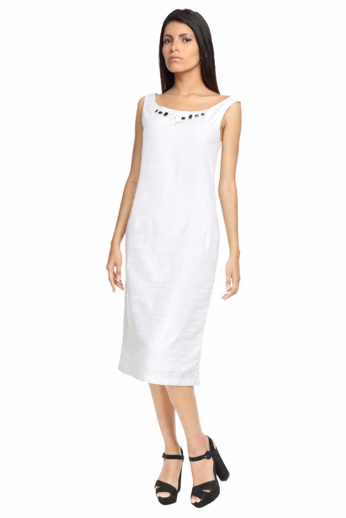 Shift Dress with Jeweled Neck Line Front