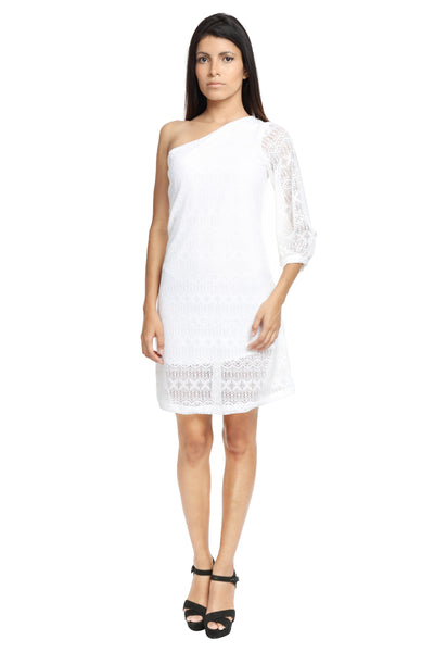 One Shoulder White Lace Dress Front