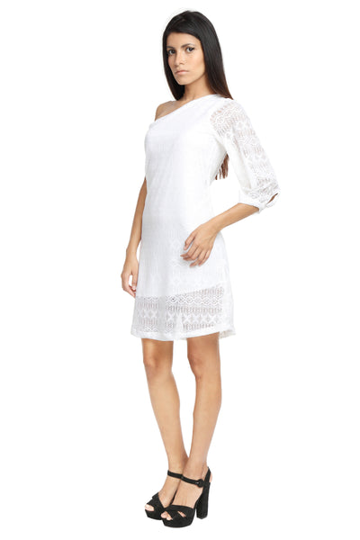 One Shoulder White Lace Dress Side