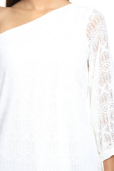 One Shoulder White Lace Dress Close Up