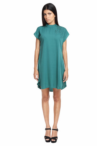 Reverse Cowl Tunic Dress in Green Front
