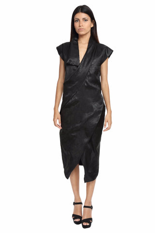 Front Wrap Dress With Angular Shoulders in Black Front