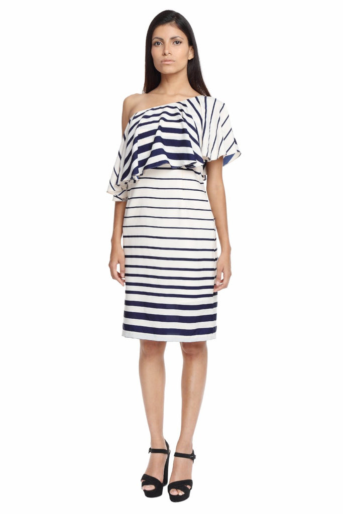 Striped One Shoulder Ruffle Dress Front