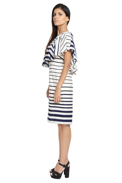 Striped One Shoulder Ruffle Dress Side