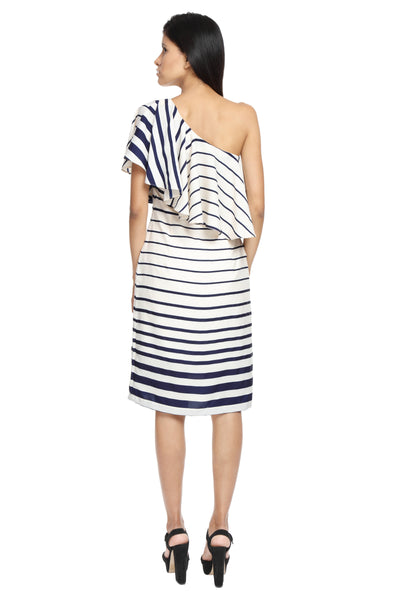 Striped One Shoulder Ruffle Dress Back