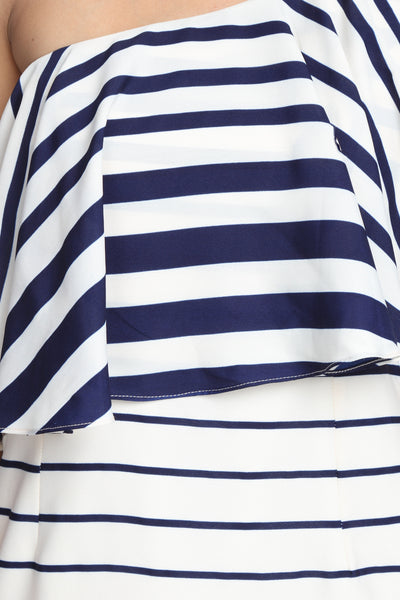 Striped One Shoulder Ruffle Dress Close Up