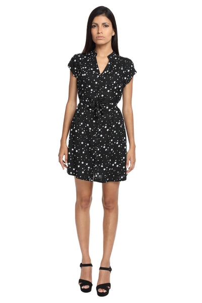 Black With White Stars Casual Dress Front 1