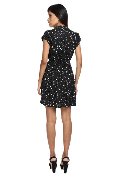Black With White Stars Casual Dress Back