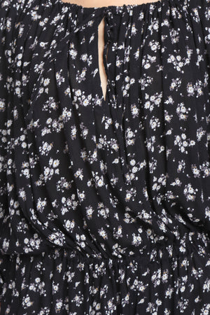 Black Floral Beach Dress Close Up