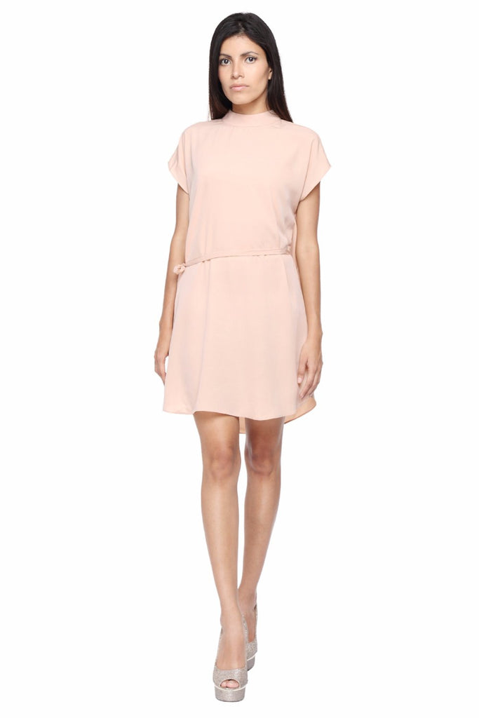 Tunic Dress in Peach with Belt Front