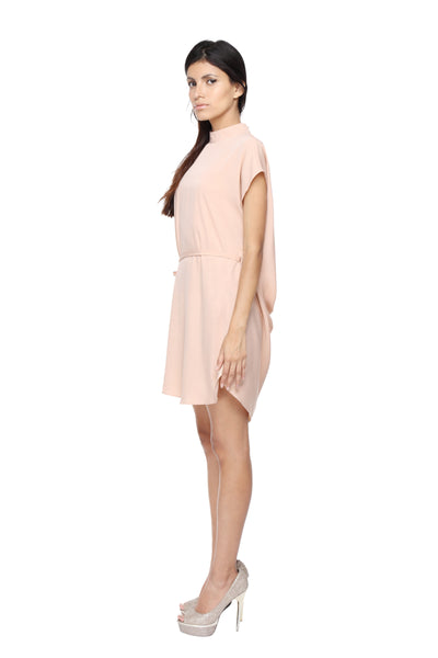 Tunic Dress in Peach with Belt Side