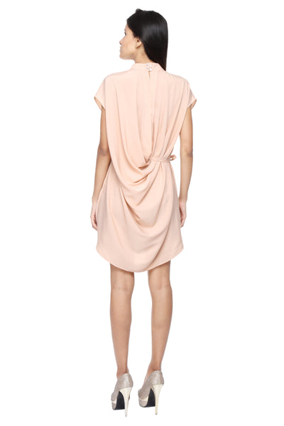 Tunic Dress in Peach with Belt Back