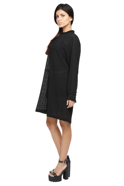 Knee Length Tunic Dress with Collar Embellishment Side